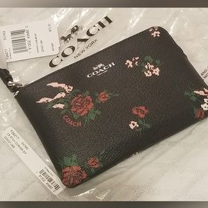 Auth Coach Leather Wristlet Wallet - Black Floral
